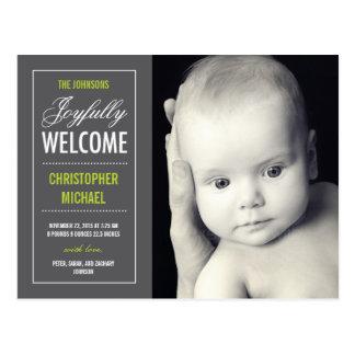 Joyful Welcome Birth Announcement Postcard