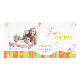 Joyful Winter Bird Happy Holidays Family Photo Card