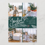 "Joyful Wish | Christmas Photo Collage Card<br><div class=""desc"">Beautiful typography based holiday photo card features four of your favorite square family photos in a collage layout. ""Joyful Wishes"" appears in the center in white hand lettered typography on a hunter green background accented with white sketched leaves and red holly berries. Customize with your personal greeting, family names and...</div>"