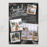 "Joyful Wish | Christmas Photo Collage Card<br><div class=""desc"">Beautiful typography based holiday photo card features four of your favorite square family photos in a collage layout. ""Joyful Wishes"" appears at the top in white hand lettered typography on a charcoal gray chalkboard background accented with white sketched leaves and red holly berries. Customize with your personal greeting, family names...</div>"