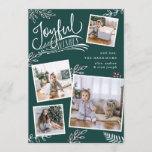 "Joyful Wish | Christmas Photo Collage Card<br><div class=""desc"">Beautiful typography based holiday photo card features four of your favorite square family photos in a collage layout. ""Joyful Wishes"" appears at the top in white hand lettered typography on a dark spruce green background accented with white sketched leaves and red holly berries. Customize with your personal greeting, family names...</div>"