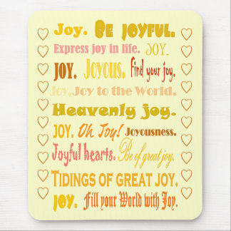 Joyful words collage with golden letters mousepad