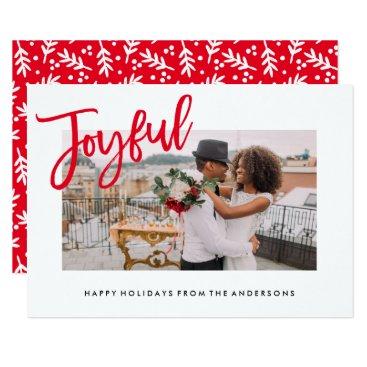Christmas Themed Joyfully Brushed Holiday Photo Card