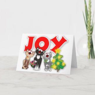 Joyfully Wailing Xmas Cats card