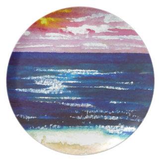 Joyous  2 - Ocean Sunrise Sunset Beach Art Gifts Party Plates
