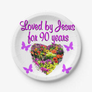 JOYOUS 90 YR OLD PAPER PLATE
