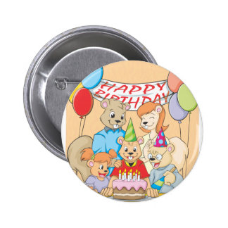 Joyous and colorful picture of a Squirrel Family 2 Inch Round Button
