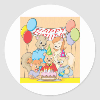 Joyous and colorful picture of a Squirrel Family Classic Round Sticker