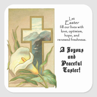 Joyous and Peace Easter Square Stickers