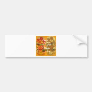 Joyous and sad  sunflowers bumper sticker