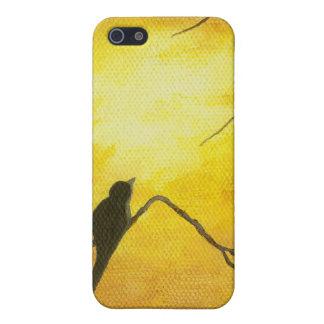 Joyous Bird Art on Branch Golden Sunshine Painting iPhone SE/5/5s Cover