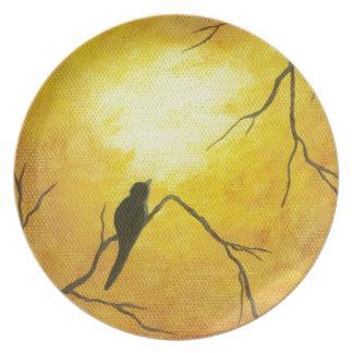 Joyous Bird Branch Golden Sunshine Abstract Art Melamine Plate