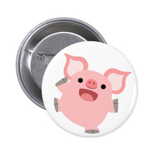 Joyous Cartoon Pig Button Badge