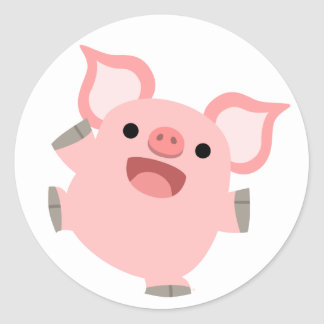 Joyous Cartoon Pig Sticker