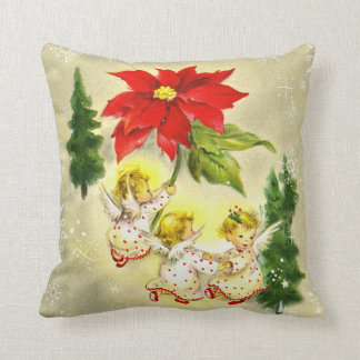 Joyous Christmas Cherubs | Cute Vintage Holiday Throw Pillow
