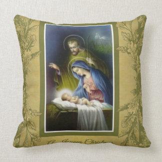Joyous Christmas Virgin Mary, Joseph, Jesus Manger Throw Pillow