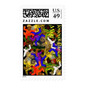 Joyous Dancing Magi - Tesselated Postage Stamp