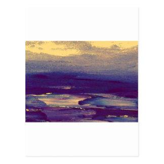 Joyous Day Ocean Scape Purple Gold Sunset Postcard
