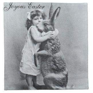 Joyous Easter Antique Post Card Bunny Girl Cloth Napkin