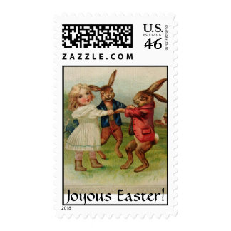 Joyous Easter Antique Print Greeting Bunnies Play Postage Stamps