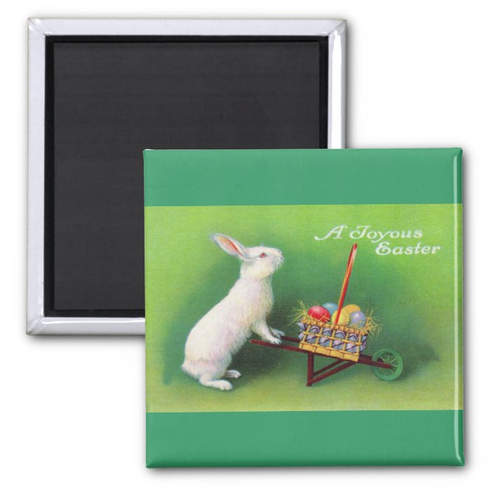 Joyous Easter Bunny and Wheelbarrow  Magnet
