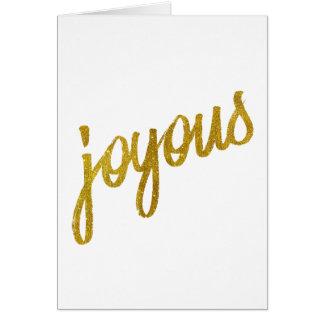 Joyous Gold Faux Foil Metallic Glitter Quote Card