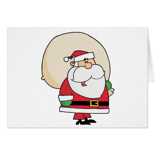 Joyous Kris Kringle Carrying A Toy Sack Card