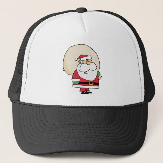 Joyous Kris Kringle Carrying A Toy Sack Trucker Hat