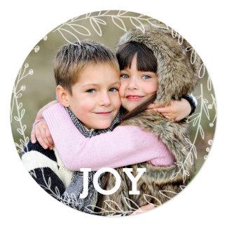 Joyous Laurel Wreath Holiday Photo Card Invite