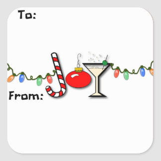 Joyous Martini Gift Tag Sticker