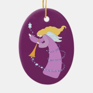 Joyous Noise Double-Sided Oval Ceramic Christmas Ornament