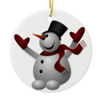 Joyous Snowman Ceramic Ornament