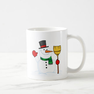 Joyous Snowman Holding A Broom And Waving Coffee Mug