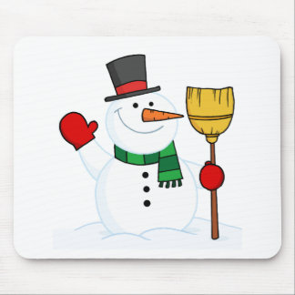 Joyous Snowman Holding A Broom And Waving Mouse Pad