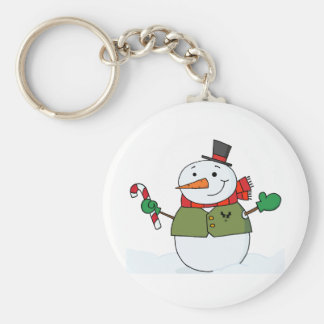 Joyous Snowman Holding A Candy Cane Keychain