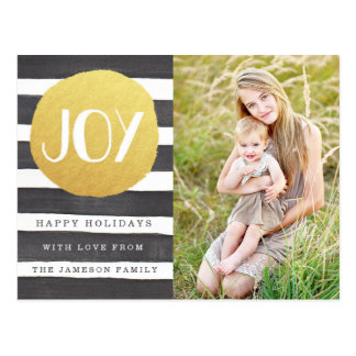 Joyous Stripes Holiday Photo Postcard