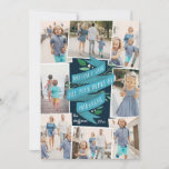 """Joyous Tidings   Hanukkah Photo Collage Card<br><div class=""""desc"""">Beautifully illustrated Hanukkah photo card features eight photos arranged in a collage layout. """"May love and light fill your heart at Hanukkah"""" appears in the center in hand lettered typography on a blue watercolor ribbon,  accented with green leaves and white berries. Personalize with your names and the year.</div>"""