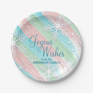 Joyous Wishes, Watercolor and Snowflakes Christmas Paper Plate