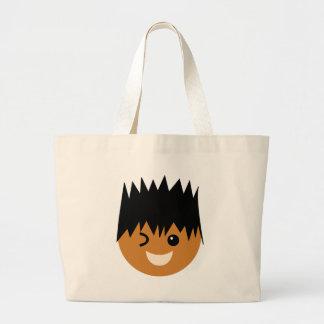 JoyousBFacesP8 Large Tote Bag