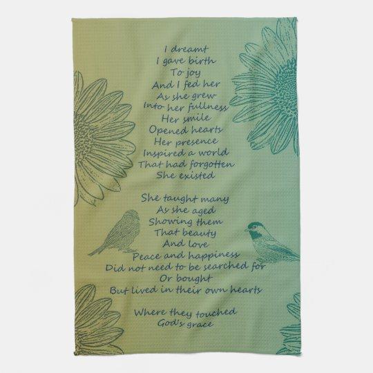 Joy's Birth Poem Kitchen Towel
