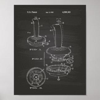 Joystick Controller 1985 Patent Art Chalkboard Poster