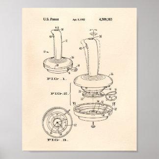 Joystick Controller 1985 Patent Art Old Peper Poster