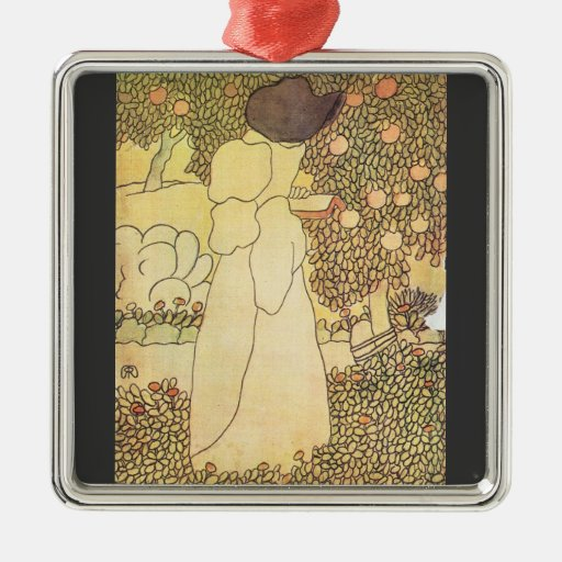 Jozsef Rippl-Ronai - Lady in her garden Square Metal Christmas Ornament