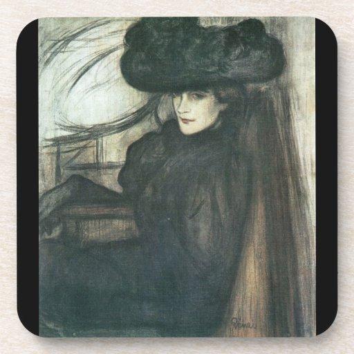 Jozsef Rippl-Ronai - Lady with black veil Beverage Coasters