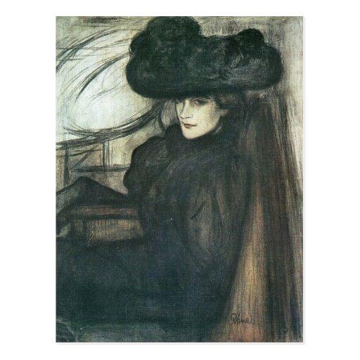 Jozsef Rippl-Ronai - Lady with black veil Postcard