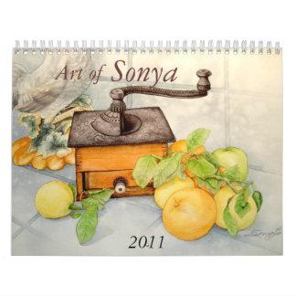Jpec de la AMOLADORA de CAFÉ, arte de, Sonya, 2011 Calendario De Pared