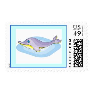 jpg_dolphine CUTE PASTEL CARTOON DOLPHIN HAPPY SEA Postage