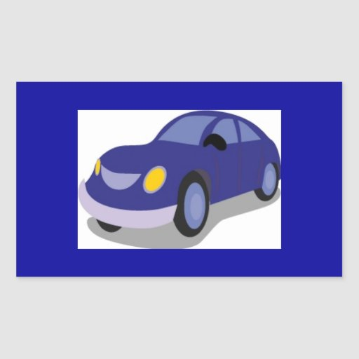 jpg_transportation019 BLUE CARTOON CAR AUTOMOBILE Rectangular Sticker