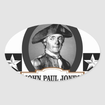 USA Themed jpj two stars oval sticker