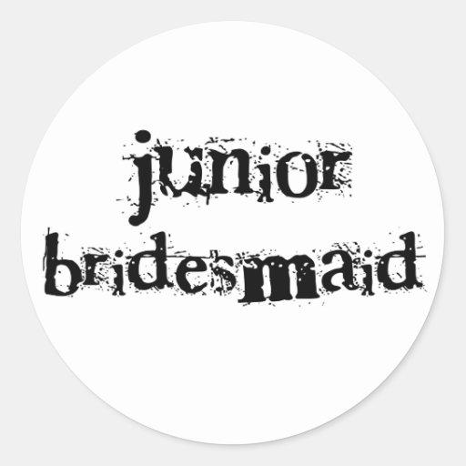 Jr. Bridesmaid Black Text Classic Round Sticker